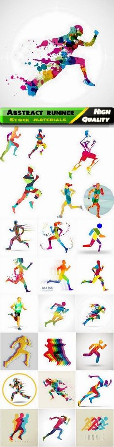 Abstract colorful sport woman and man runner and sprinter - 25 Eps