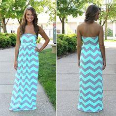Light Blue Wave Striped Bandeau Sleeveless Floor Length Slim Cotton Dress - Maxi Dresses - Dresses