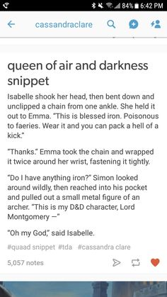 Snippet of Queen of Air and Darkness posted by Cassadra Clare on Tublr