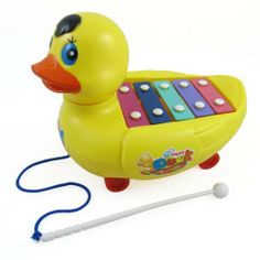 Xylophone Duck Pull Along Toy for Kids by Musical Duck. $7.85. Your kid will love making music with this cute xylophone duck!    This cute xylophone duck is fun to play with.  Make music with five colorful bars, each producing different notes.  The mallet is also attached to the duck with a sturdy string.  This keeps the mallet from getting lost.   The  xylophone duck can also be used as a pull along toy.  As you pull the duck along, it will move its head from left to right.  ...