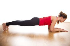 Pressing through an elbow plank with palms facing down will help keep back muscles engaged and clasping hands together in a fist will enlist...