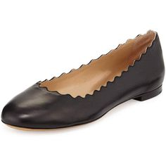 Chloe Lauren Scalloped Leather Ballerina Flat (£375) ❤ liked on Polyvore featuring shoes, flats, black, ballet shoes, black ballet shoes, black flat shoes, black round toe flats and leather slip on shoes