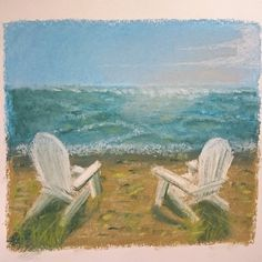 A quick #pastelpainting with #rembrandt #rembrandtpastels #softpastel... Who wouldn't #relax at the #beach on one of these #chairs at the #shore... Feels like #holiday  #sketchbook #sketch #pastelsketch #pasteldrawing #instaart #instasketch #doodle #sketchaday #draw #drawing