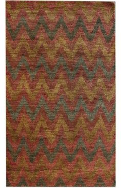 Rugs USA Aguada Jalore Hand Knotted Hemp Ikat Red Rug
