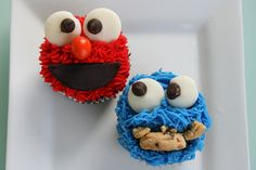 Elmo and Cookie Monster Cupcakes but use half Oreos for Elmos mouth