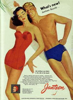 Wanted to share a delayed reaction to the season opener of AMC series Mad Men. During a pitch to executives from Jantzen swimwear, Don Drap. Pin Up Vintage, Mode Vintage, Vintage Ads, Vintage Posters, Vintage Bathing Suits, Vintage Swimsuits, Retro Advertising, Vintage Advertisements, Advertising Campaign