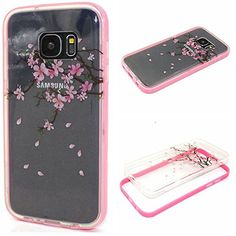 Galaxy S7 Case, Life Sweetly Pink Floral Pattern Pretty 2 in 1 Durable Hybrid Bumper with Clear TPU Back Cover for Samsung Galaxy S7 with Glass Screen Protector Life Sweetly
