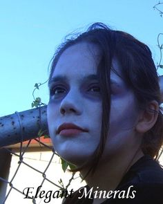 Natural Goth Halloween Face Paint  Colors used: white, black, royal blue, red