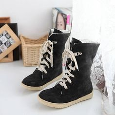 2013 fall/winter collections, lace up mid-calf flat booties. Made of PU leather and rubber outsole.  #flatbooties #fallbooties #2013fallcollections
