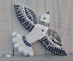 Vintage Crockery Mosaic Bird  blue and white.