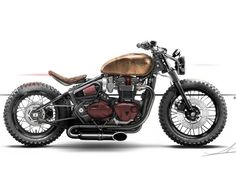 Discover just a few of my favorite builds - unique scrambler builds like this - Old Bikes and the machines - Motocicletas Triumph Bobber Custom, Bobber Bikes, Cafe Racer Bikes, Cafe Racer Motorcycle, Moto Bike, Motorcycle Style, Triumph Motorcycles, Custom Motorcycles, Custom Bikes