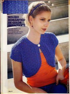 Grace y todo en Crochet: Cute blue bolero....Lindo bolero azul.