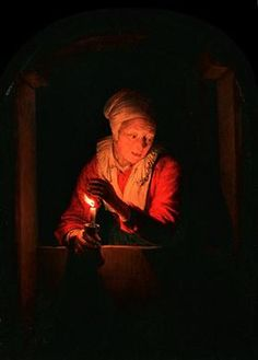 Old woman with a candle - Gerrit Dou