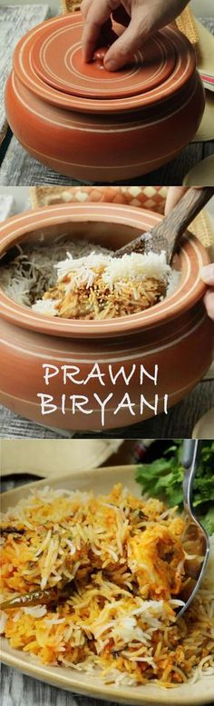 We ❤ this flavorful biryani! Delicious prawn biryani layered and cooked on dum - specially for seafood lovers! Veg Recipes, Indian Food Recipes, Cooking Recipes, Curry Recipes, Keema Recipes, Cooking Tips, Prawn Biryani Recipes, Dum Biryani, Fish Biryani