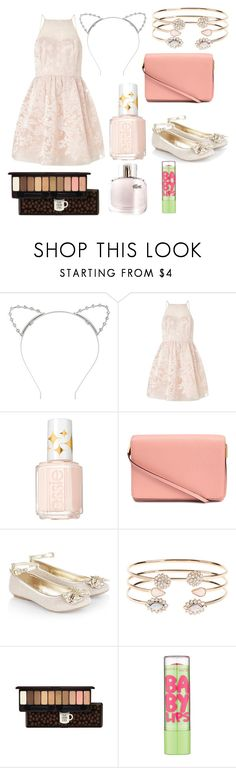 """cat"" by evkmob ❤ liked on Polyvore featuring Lipsy, Essie, H&M, Monsoon, Accessorize, Lacoste and Maybelline"