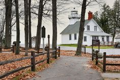 """""""Autumns End""""  Old Mission Point Lighthouse ~ Old Mission, Michigan ~ Grand Traverse Bay"""