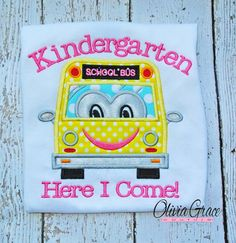 Kindergarten Here I Come, Back to School Embroidered Shirt , 1st grade, 2nd grade, pre school on Etsy, $29.00