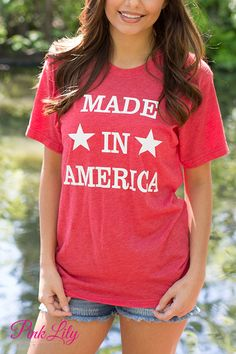 Just in time for the 4th of July, this brand new tee will let you show off your American pride! Featuring white vinyl lettering and two stars, this shirt is perfect for all of your backyard events and neighborhood block parties!