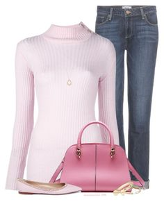 """""""Pink"""" by houston555-396 ❤ liked on Polyvore featuring Paige Denim, Balmain, Valentino, Marco Bicego, Alexis Bittar and EF Collection"""