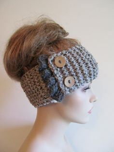 Grey Knit Headbands Earwarmers Turban Buttons Chunky Knit Gray Fall Winter Accessories Headcovers Womens Girls Knit Headwraps
