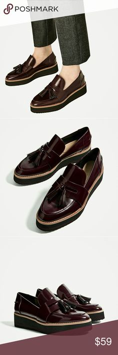 Zara platform loafers Burgundy color platform loafers. Brand new with tag. No trades. Zara Shoes Flats & Loafers