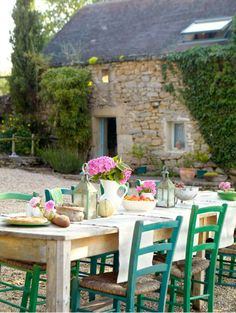 Rustic French Courtyard # old stone rustic # outdoor dining courtyard