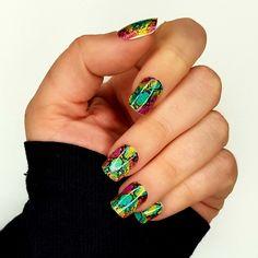 GK Nails X Jaded Ldn Rainbow snake print