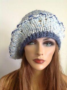 Hand Knit Hat Beret Ocean Shades Designer by HANDKNITS2LOVE, $38.00
