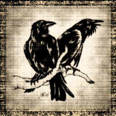 Huginn & Muninn, the two wise ravens that always accompanied the wanderer Odin. Huginn means thought, and Muninn means memory.