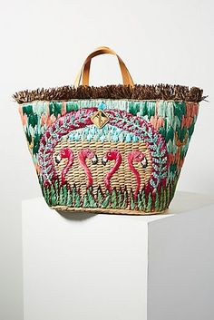 Anthropologie Favorites: November Bags and Small Accessories Sustainable Clothing, Sustainable Outfits, Straw Tote, Unique Bags, Pink Flamingos, My Bags, Bracelets, Tote Bag, Handbags