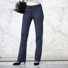 Betabrand designs amazingly comfortable clothing for women who like to stay active all day long. Dress Pant Yoga Pants, Yoga Denim, travel wear, and more. Dress Yoga Pants, Women's Pants, Trousers Women, Pants For Women, Betabrand, Pinstripe Pants, Cute Outfits, Work Outfits, Business Outfits