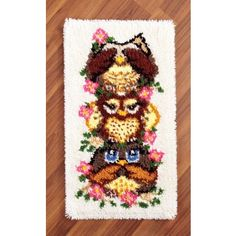 My favorite source for arts and crafts: Stacked Owls Rug Crochet Crafts, Sewing Crafts, Diy Crafts, Crochet Kits, Latch Hook Braids, Owl Rug, Rug Hooking Kits, Latch Hook Rug Kits, Rug Yarn