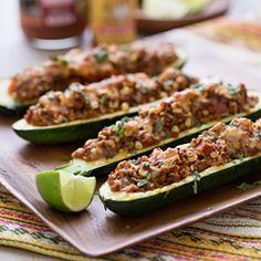 Vegetarian Taco Stuffed Zucchini HealthyAperture.com
