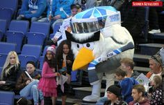 The Hockey Bird mascot amuses spectators during the game USA vs France, the opener of the 2012 IIHF Ice Hockey World Championships in Helsinki