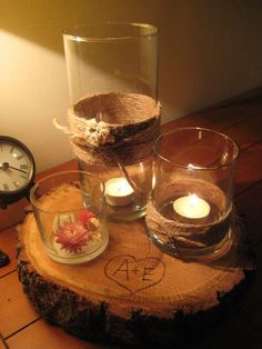 wooden slab centerpieces: great idea! (but where to get the wood..???)
