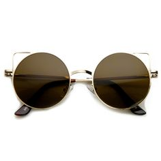 Trendy Womens Thin Metal Circle Cat Eye Fashion Sunglasses 9174 from zeroUV