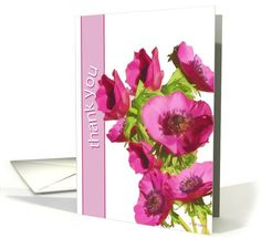 thank you christian greeting card pink anemones flowers card