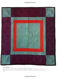 Amish quilt, Center Square, with fantastic feather quilting