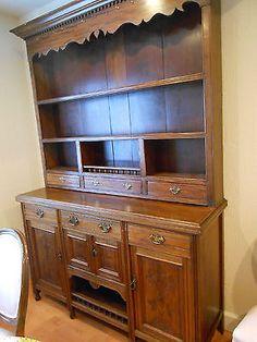 Great-2-Piece-Step-Back-Cuboard-China-Cabinet-Hutch-Antique-Welsh-Dresser