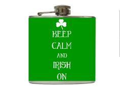St Patricks Day Flask Keep Calm Irish with by TaylorMadeFlasks