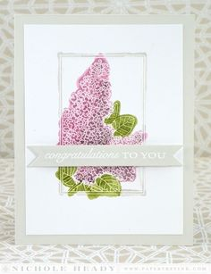 Lilac Congratulations Card by Nichole Heady for Papertrey Ink (July 2014)