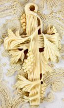 Antique Victorian French Carved Dieppe, Ivory Cross with Grapes, Leaves
