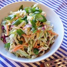 This tasty slaw is perked up by the addition of mandarin oranges, crushed pineapple, ginger and nutmeg.