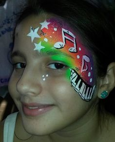 Neon Music face painting by Bianca Hannah