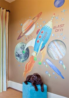 Retro Rocket Peel and Place Wall Mural - Kids Decorating Ideas