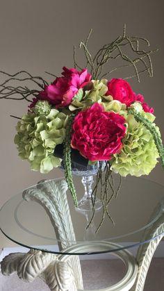 57 best silk floral arrangements images on pinterest silk floral fushia peonies with green hydrangea centerpiece silk floral arrangement in glass stemmed vase mightylinksfo