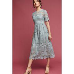 Eri + Ali Mint Lace Midi Dress ($168) ❤ liked on Polyvore featuring dresses, mint, mint green midi dress, lacy red dress, red dress, mint green dresses and mint dresses