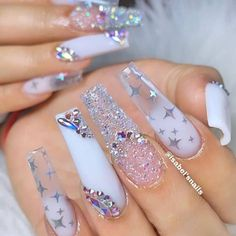 Are you looking for long nail art? See our interesting collection of long nail designs. If you are someone who likes long nail art, here are the long nail art designs you like, choose some designs you like and try. Cute Acrylic Nail Designs, Long Nail Designs, Best Acrylic Nails, Acrylic Nail Art, Sparkle Nail Designs, White Nail Designs, Nail Art Designs, Nails Polish, Gel Nails