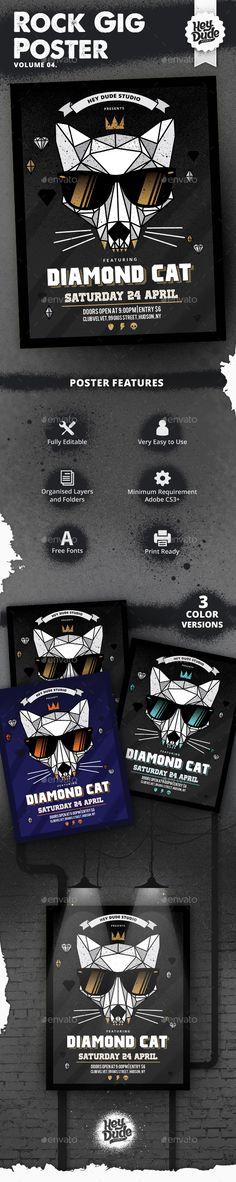 Rock Gig Poster v4 #rock #gig #metal #poster #template #flyer #typography #guitar #pick #cat #band #diamond #black