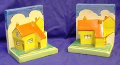 1930's Clarice Cliff Cottage Bookends sold for 450 pounds at auction.The most prolific and possibly important Art Deco ceramics designer of the Twentieth Century (1899-1972 - Tunstall, Stoke-on-Trent) .